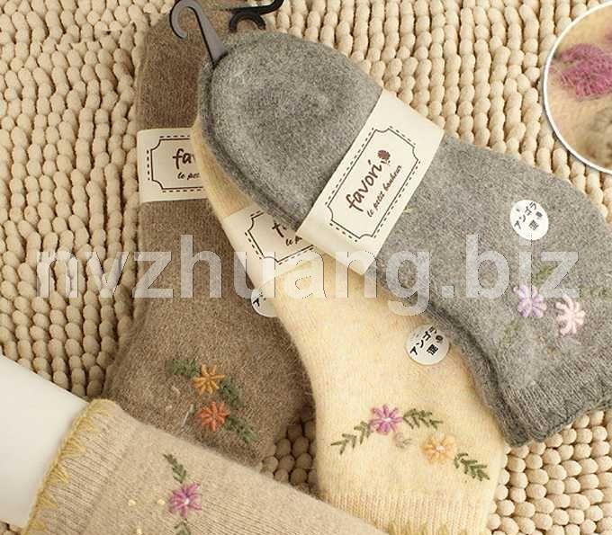 2011秋冬新款 手工绣花兔羊毛毛圈加厚保暖女袜 日本原单(短邦)