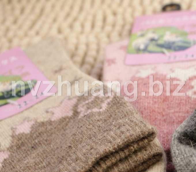 2011秋冬新品 TM-300 兔羊毛保暖女袜 7色入 手工对目缝头